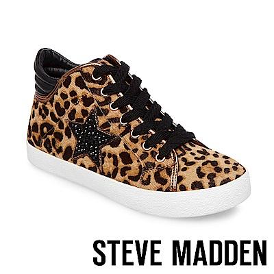 STEVE MADDEN-SAVIOR 星星綁帶高筒休閒鞋-豹紋