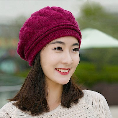 幸福揚邑 棱紋小顏毛線帽雙層保暖護耳防風兔毛針織貝蕾帽-酒紅
