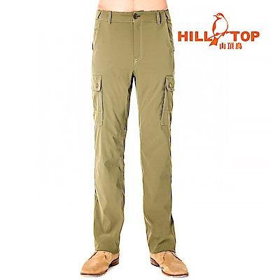 【hilltop山頂鳥】男款吸濕排汗抗UV彈性長褲S07MB5-焦綠