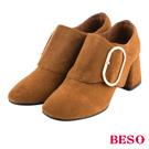 BESO復古甜心 質感橢圓飾釦全真皮粗跟踝靴~茶