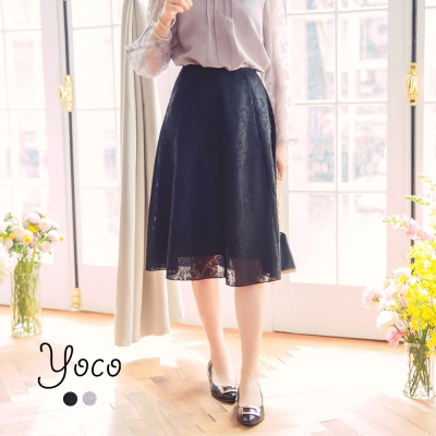 東京著衣-yoco 歐式浪漫蕾絲花朵傘襬長裙-S.M.L(共二色)