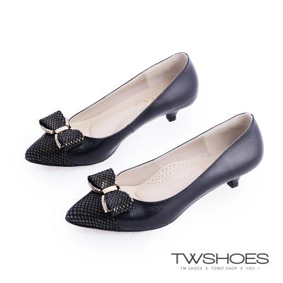 TWshoes真皮典雅鑲鑽蝴蝶結低跟包鞋-黑