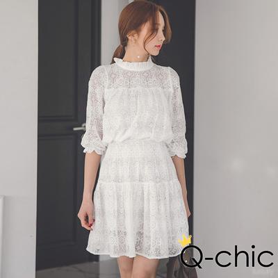正韓 飄逸蕾絲收腰細摺洋裝 (共三色)-Q-chic