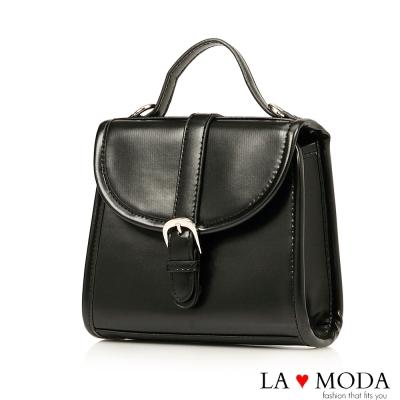 La Moda 約會帶著它~精緻便攜多背法肩背斜背手提小方包(黑)