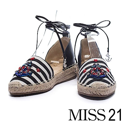 休閒鞋 MISS 21 希臘航海船錨鑽飾設計繫帶草編厚底休閒鞋-黑白