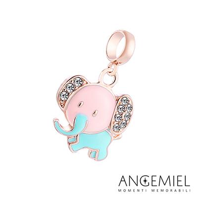 Angemiel安婕米串珠 925純銀吊飾 Dream童話系列 粉色小象