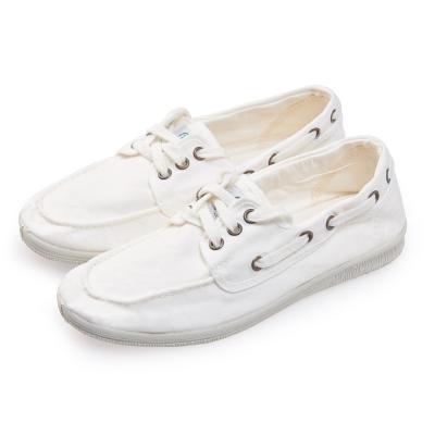 (女)Natural World 西班牙休閒鞋 素色3孔綁帶款*白色