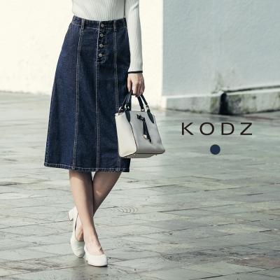 東京著衣-KODZ丹寧率性排釦後開岔設計牛仔裙-S.M.L共一色