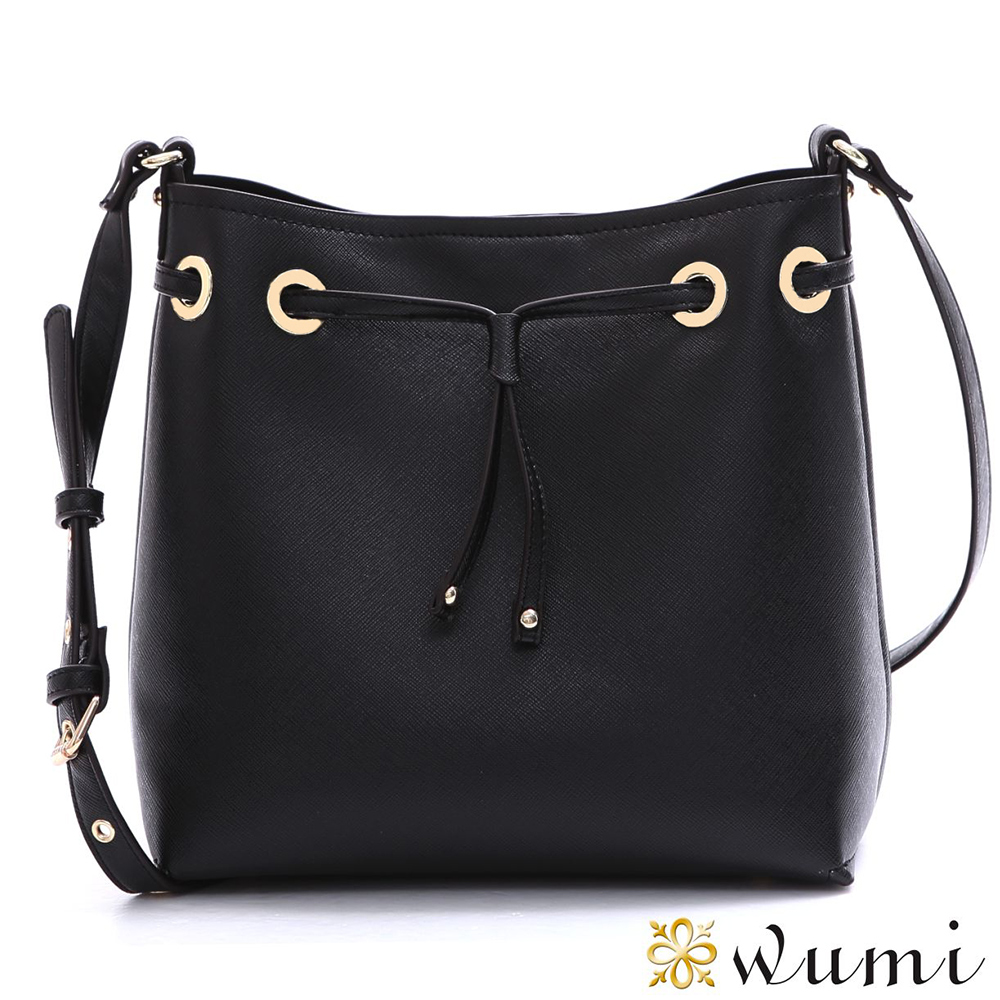 WuMi 無米  洛米娜十字紋束口水桶包  時尚黑