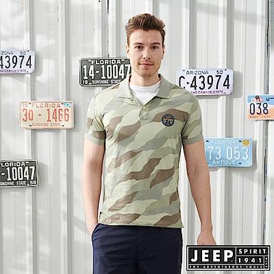 JEEP叢林迷彩短袖POLO衫-軍綠
