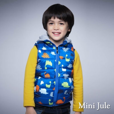 Mini Jule 童裝-鋪棉背心 搖粒絨多彩恐龍拉鍊連帽背心(藍)