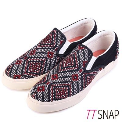 TTSNAP樂福鞋-MIT圖騰編織懶人鞋 紅