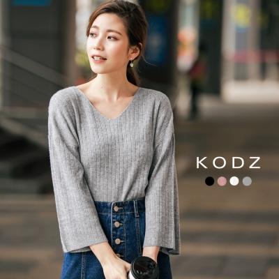 東京著衣-KODZ 高質感羊毛美背織紋多色針織上衣-S.M.L(共四色)