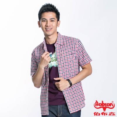 BOBSON 男款格紋短袖襯衫(紅藍13)