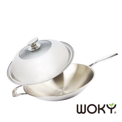 WOKY沃廚 輕量化玫瑰金不鏽鋼萬用炒鍋36cm