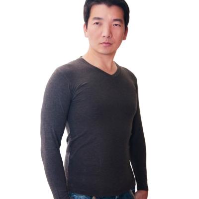 SOLIS 嚴選 MIT 長袖V領手感吸濕發熱衣(暗灰色)
