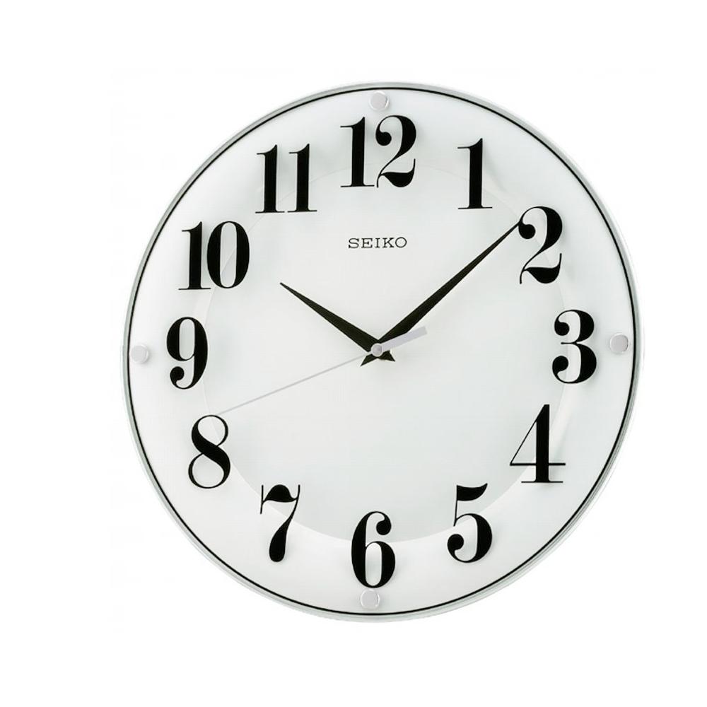 SEIKO 精工 印刷玻璃恆動式秒針靜音掛鐘(QXA445W)-白/34cm