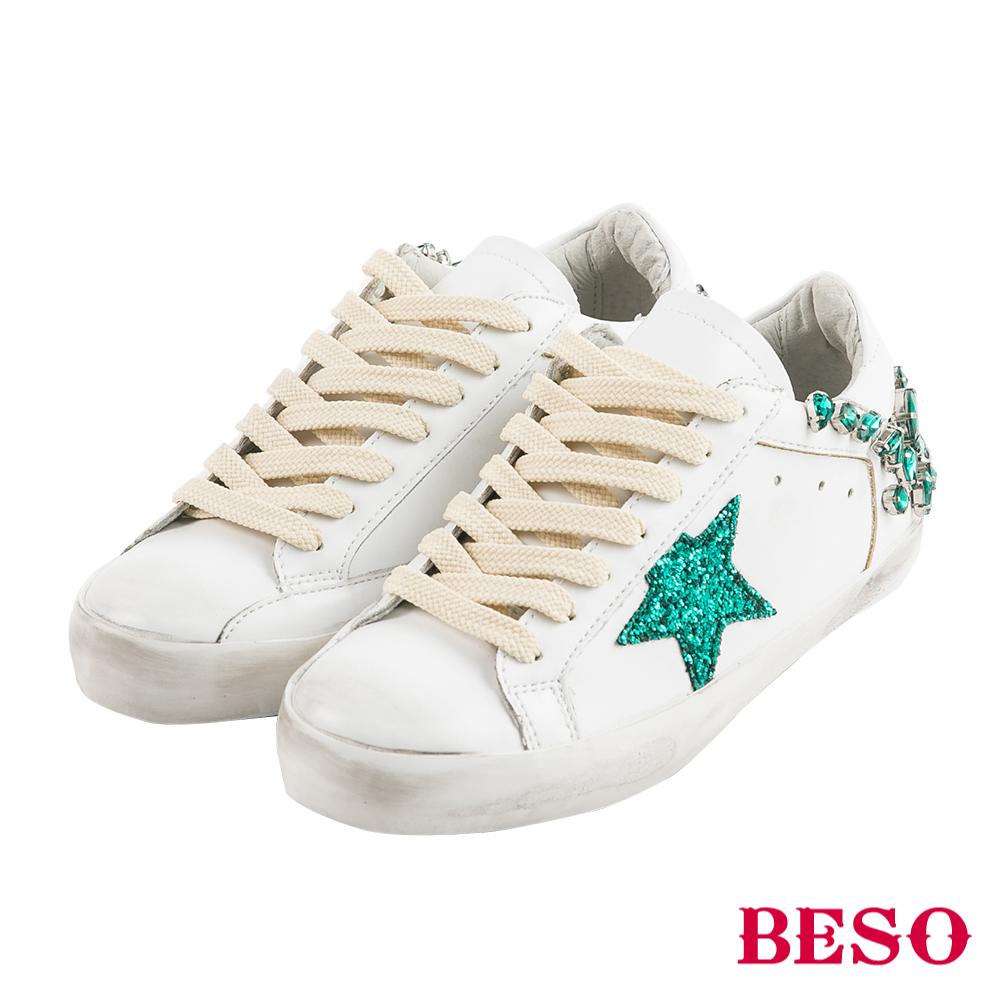 BESO時髦魅力 閃鑽寶石星星仿舊造型綁帶休閒鞋~白