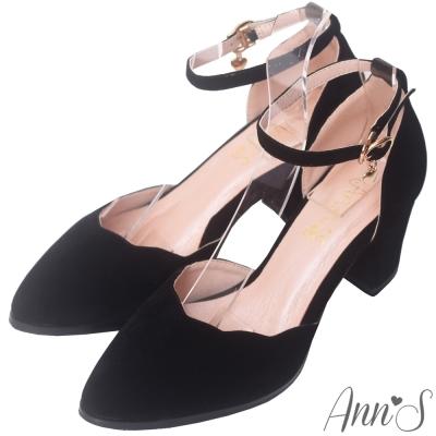 Ann'S戀愛夢遊-金色小愛心吊飾甜美波浪繫帶粗跟鞋-黑