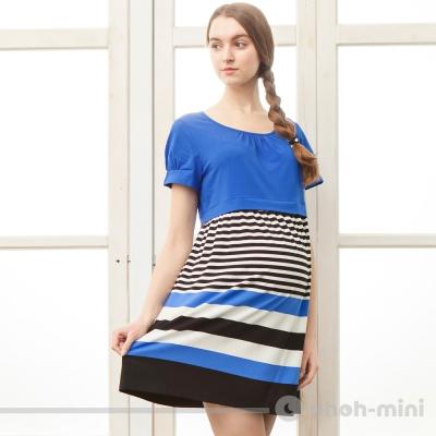 【ohoh-mini 孕婦裝】活潑色塊剪接條紋圓領洋裝