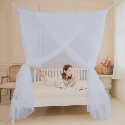 凱蕾絲帝-台灣製造150*200*200公分加高針織蚊帳開三門-粉藍