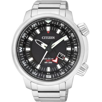 CITIZEN Eco-Drive光動能飛行時尚腕錶(BJ7081-51E)-黑x銀/46mm