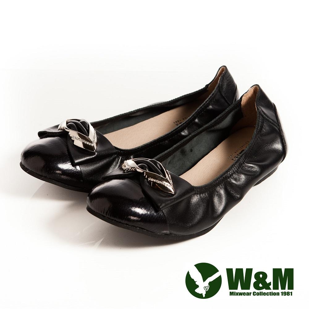 W&M 可愛菱形金屬片蝴蝶結優雅時尚好穿搭柔軟平底鞋-黑