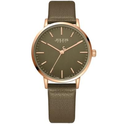 JULIUS聚利時 無懼的愛簡約指針皮帶腕錶-深墨綠/34mm