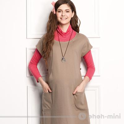 【ohoh-mini 孕婦裝】典雅立體OL短袖寬版哺乳洋裝