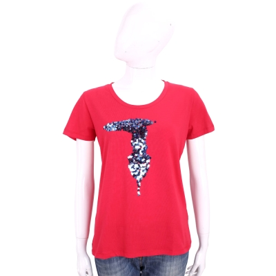 TRUSSARDI 紅色亮片LOGO棉質短袖T恤