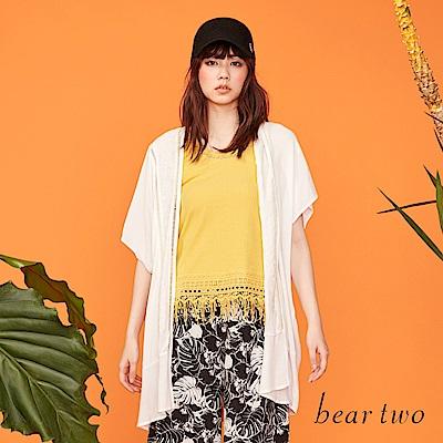 beartwo 透膚洞洞感長版剪裁罩衫(二色)