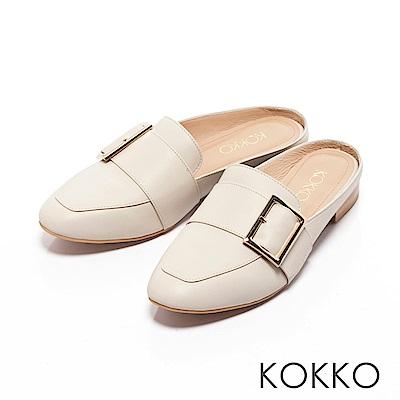 KOKKO -法式質感真皮方扣平底穆勒鞋-亮眼白