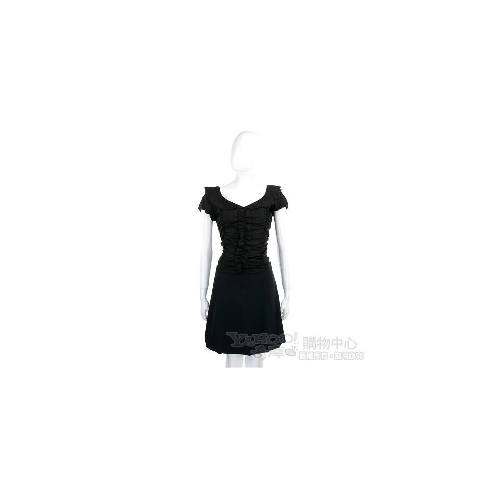 MOSCHINO 黑色皺褶造型短袖洋裝