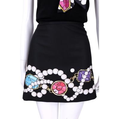 BOUTIQUE MOSCHINO 黑色珠寶印花短裙