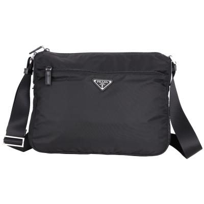 PRADA VELA 三角牌前拉袋設計尼龍肩背包(黑色)