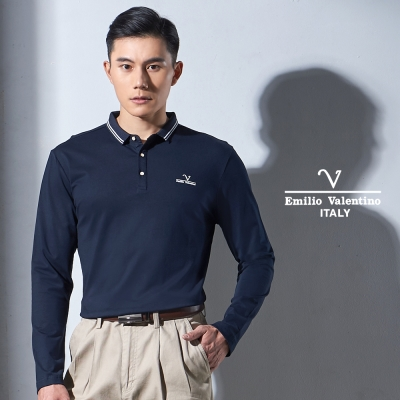 Emilio Valentino 機能彈力休閒POLO衫_深藍(15-7V9963)