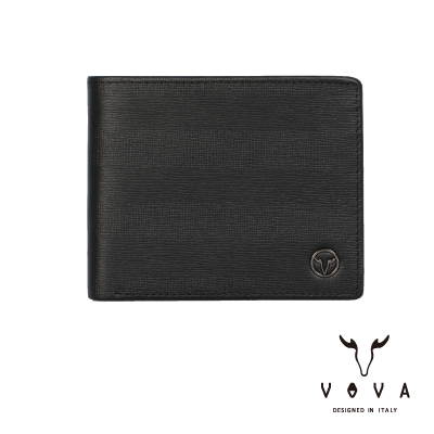VOVA - SEAL印璽系列9卡左上翻零錢袋AI紋皮夾 - 黑色