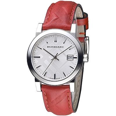 BURBERRY 倫敦精品幾何圖形設計皮帶女錶-銀白/紅色格紋(BU9152)/35mm