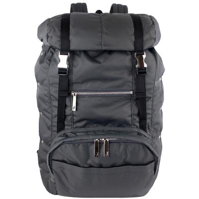 agnes b. voyage 灰色尼龍布大型L型拉鍊後背包