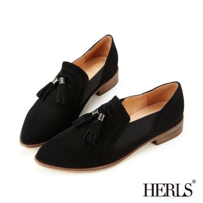 HERLS 全真皮鬆緊帶拼接流蘇樂福鞋-黑色