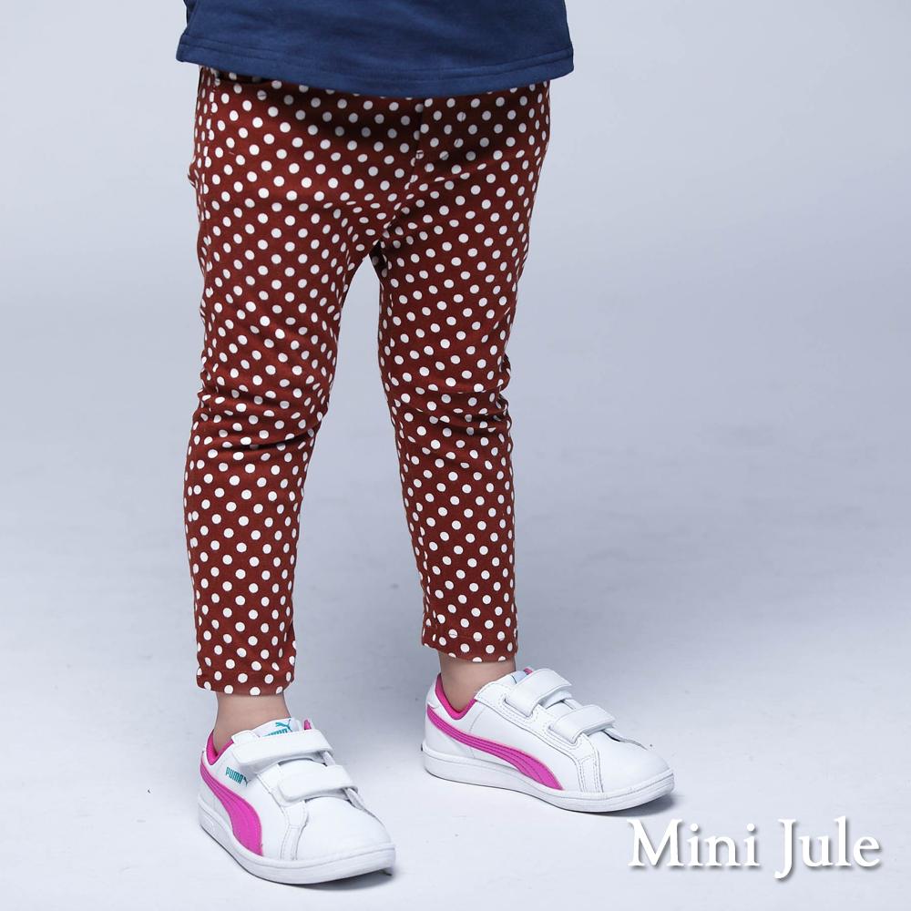 Mini Jule 童裝-長褲 滿版點點雙口袋鬆緊長褲(橘)
