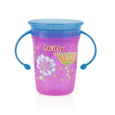 Nuby 360度喝水杯240ml-藍粉(6m+)