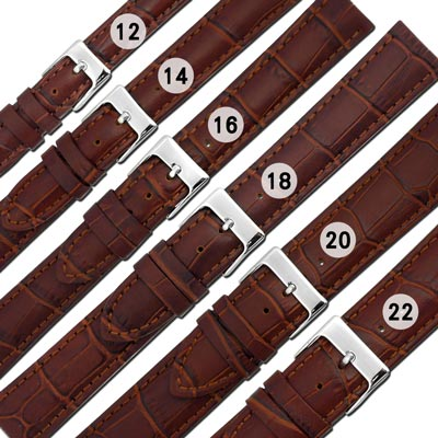 Watchband / 各品牌通用柔軟壓紋真皮錶帶-紅棕色