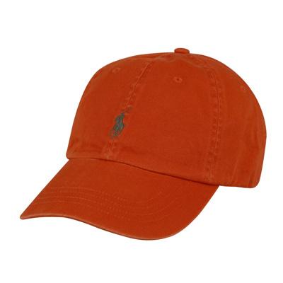 POLO 經典墨綠馬LOGO帆布鴨舌帽(橘)