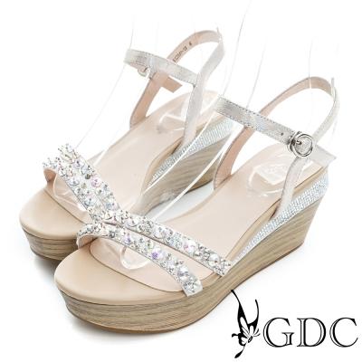 GDC-閃耀水鑽木紋一字真皮楔型厚底涼鞋-粉色