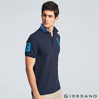GIORDANO 男裝勝利獅王3D刺繡彈力萊卡POLO衫 -35 標誌海軍藍