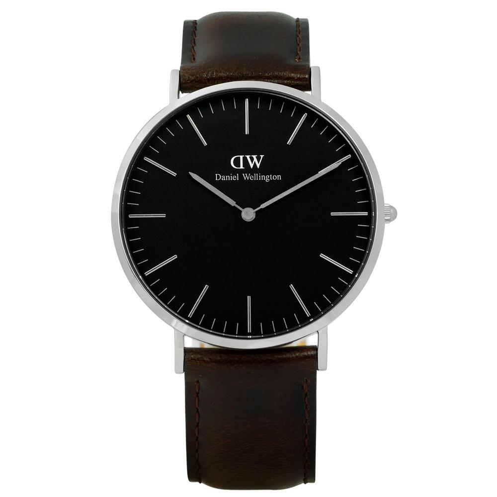 DW Daniel Wellington Classic旗艦真皮手錶-黑x深咖啡/40mm