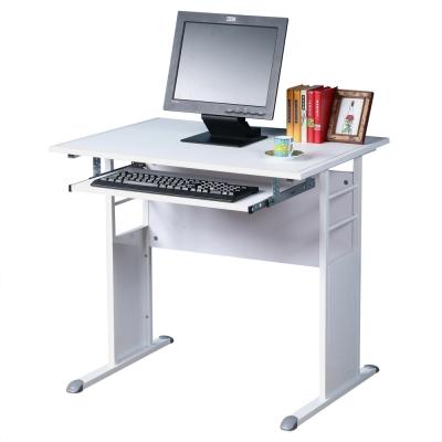 Homelike 巧思辦公桌 亮白系列-白色仿馬鞍皮80cm(附鍵盤)