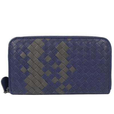 BOTTEGA VENETA小羊皮編織雙色ㄇ字拉鍊長夾(紫藍)