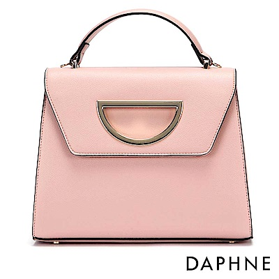 達芙妮DAPHNE-D字金屬縷空裝飾手提斜背梯形包-淺粉